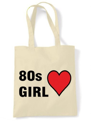 80s Girl Eco Friendly Tote / Shoulder Bag - choice of colour - pale cream or yellow. Strong 100% cotton