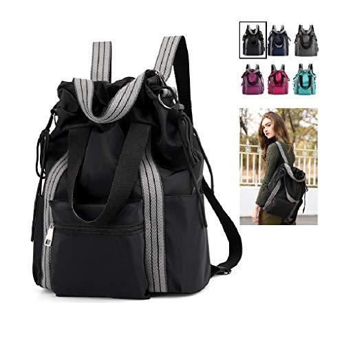 Lightweight Large Capacity Laptop Backpack Tote Bags Shoulder Bag (black)