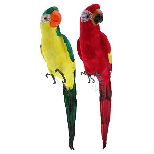 KESOTO 2pcs Papagei aus Harz Ornament Zaundeko Kantenhocker Dekofigur für Balkon, Zaun, Baum Terrasse und Garten Deko