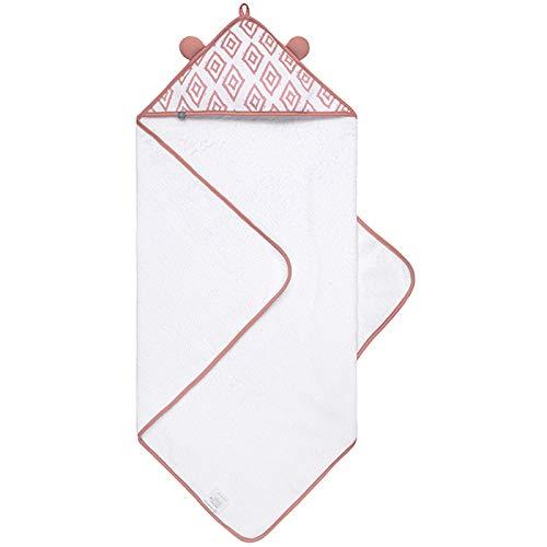 Premium Baby Handtuch mit Kapuze, 80x80cm, Flauschig Weich, 100% Bio-Baumwolle, Frottee, OEKO-TEX Zertifiziert, Extra Saugfähig, Langlebig, Kapuzenbadetuch von emma & noah (Rauten Rosa)