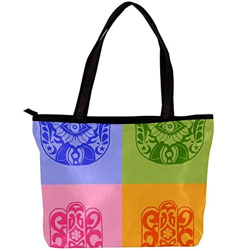 Bolsos de hombro de la bolsa de asas de la lona de las mujeres hamsah y de Fátima Bolsa de playa Bolsa de compras para uso diario en viajes de trabajo
