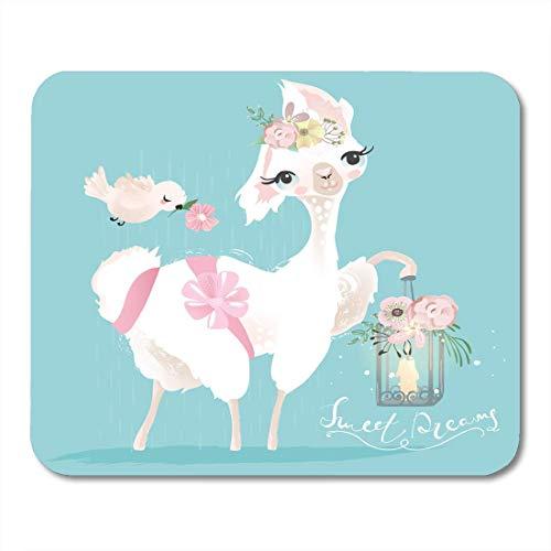 Mauspads weiß schönes und süßes lama-alpaka mit blumen gebundener schleife und skurriler romantischer laterne und vogelbaby-mauspad für notebooks, Desktop-computer-matten büromaterial