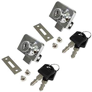 AERZETIX: 2x Cerraduras y llaves para puerta de mueble en vidrio cristal espejo 52/36mm C41396