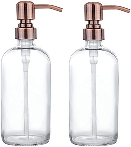 2 Pack Thick Clear Glass Pint Jar Soap Dispenser with Copper Stainless Steel Pump 16ounce Clear product image