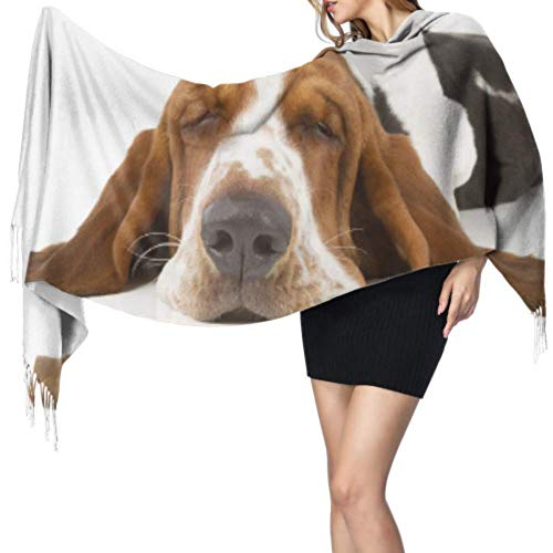 Jingliwang Schals Wickelschal Basset Hound With Flying Ears Designer Scarf Light Scarfs For Women Scarf Wrap Shawl 77x27inch/196x68cm Large Soft Pashmina Extra Warm