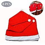 Navidad Sombrero de Santa Sombrero Cubiertas Decoración, Navidad Red Hat Silla de respaldo de la tapa de Navidad de fiesta Decoración de la mesa de comedor para el restaurante del hotel Conjunto de 6