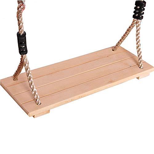 YANLE columpio de madera con cuerda para colgar, madera anticorrosiva para exterior/interior, pulido, para adultos y niños, 4 tablas