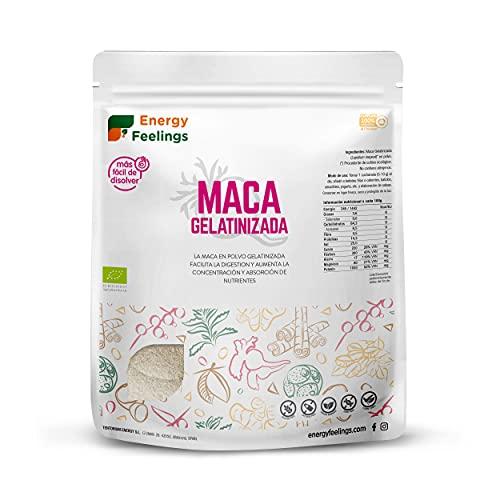 Energy Feelings Maca Gelatinizada en Polvo Orgánica | Maca Andina Peruana Ecológica | Energizante y Vigorizante | Mejor Digestión y Sabor que la Harina de Maca | Vegana | Sin Gluten | 500g