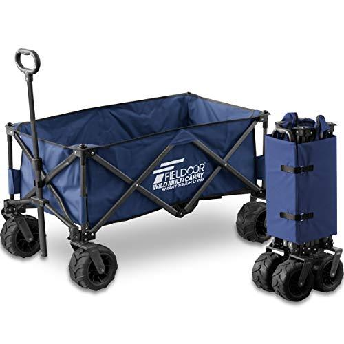 FIELDOOR ワイルドマルチキャリー ロング/折りたたみ式多用途キャリーカート 【ブルー】 耐荷重150kg アウトドア キャンプ レジャー