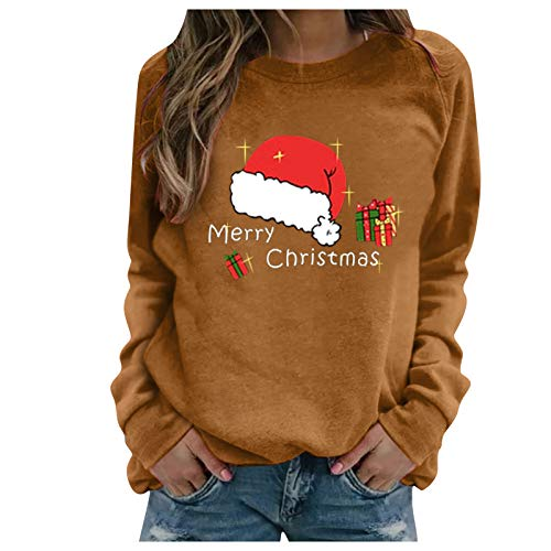 Sauahy Womens Tops for Ladies Chirstmas Long-Sleeved Print Sweatshirts O Neck Pullovers Fashion Casual Blouses Brown