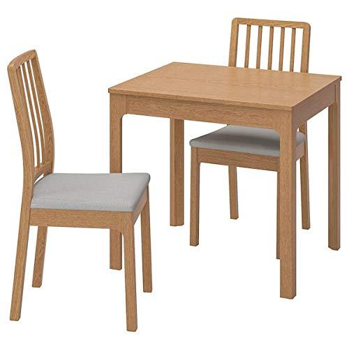 EKEDALEN / EKEDALEN Mesa y 2 sillas, roble, gris claro, 80/120 cm, resistente y fácil de cuidar. Conjuntos de comedor de hasta 2 plazas, mesas y escritorios, muebles respetuosos con el medio ambiente