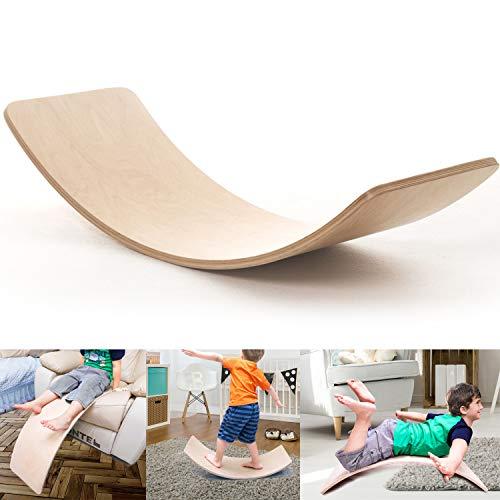 """MONT PLEASANT Wooden Wobble Balance Board Toddler Kids Yoga Board Curvy Board Wooden Rocker Board Toy 11.8"""" x 35.4"""""""