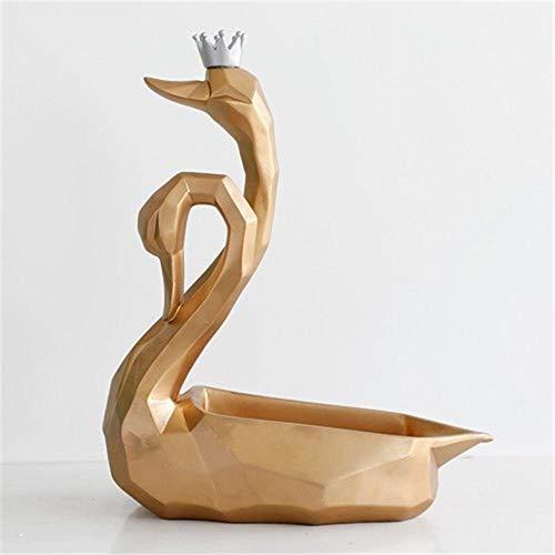 YuanBo Wu Caja de almacenamiento de doble cisne, estatua de origami, resina, decoración de escritorio, decoración de oficina (color: oro, tamaño: 1)
