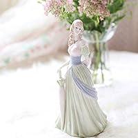 彫刻と彫像セラミックドールガールスタチューホームデコレーションクラフトルームデコレーションレトロローズポーセリンガールレディスタチューウェディングデコレーションギフト