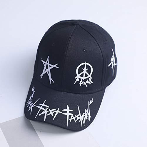 GSFD&DFGW Graffiti Pentagram Mixed Baseball Cap Herren und Damen Sommer Trend Cap New Youth Joker Visor Schwarz und Weiß Hip Hop Cap, Schwarz