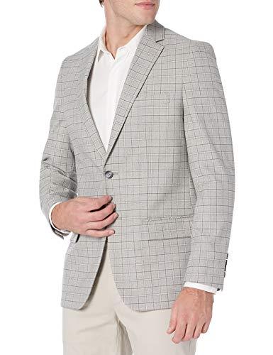 Haggar Men's J.M Premium Heather Grid Slim Fit Two Button Notched Lapel Center Vent Sport Coat, Light Grey, 40 X L