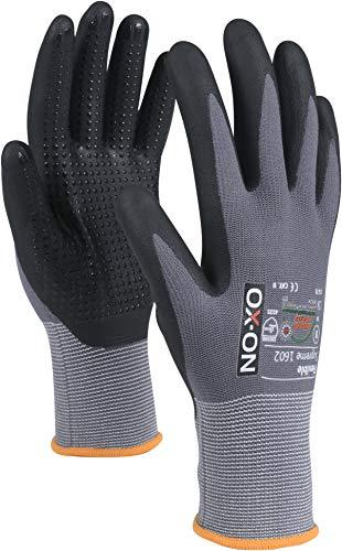 HandschuhMan. OX-ON Flexible Nopperl Arbeitshandschuhe Nitrilbeschichtet mit NOppen Gr. 6-11 (8/M)