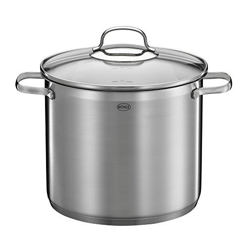 RÖSLE ELEGANCE Gemüse/Partytopf, Hochwertiger Edelstahltopf zum Kochen großer Mengen, 8 Liter, Edelstahl 18/10, Innenskalierung, Induktionsgeeignet, Spülmaschinengeeignet