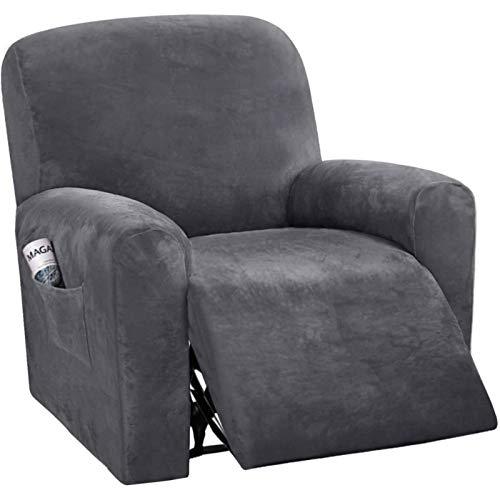 JHLD Stretch Sesselbezug Relaxsessel, 1Sitz 4 Stück Samt Ruhesessel Bezug Weiche Stretch Sesselbezug Mit Seitentasche Für Kinder Haustiere-D-Ruhesessel