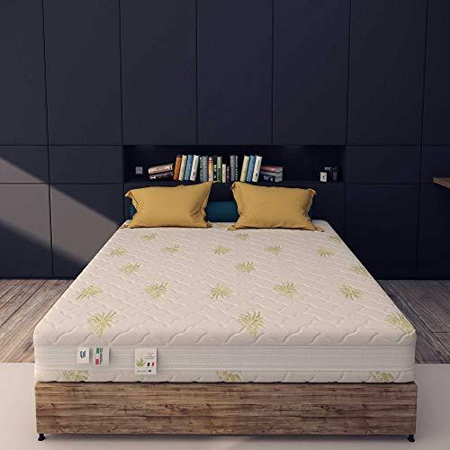 Baldiflex Emporio, Materasso Matrimoniale Memory 2 Strati Monozona 9 + 3 memory 160 x 190 cm, Rivestimento Sfoderabile Aloe Vera Cus. Fiocco Incl.
