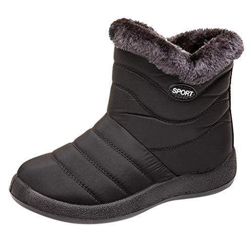 Malbaba Women's Winter Snow Boot Waterproof Fur Lined Mid Wedge Outdoor Booties