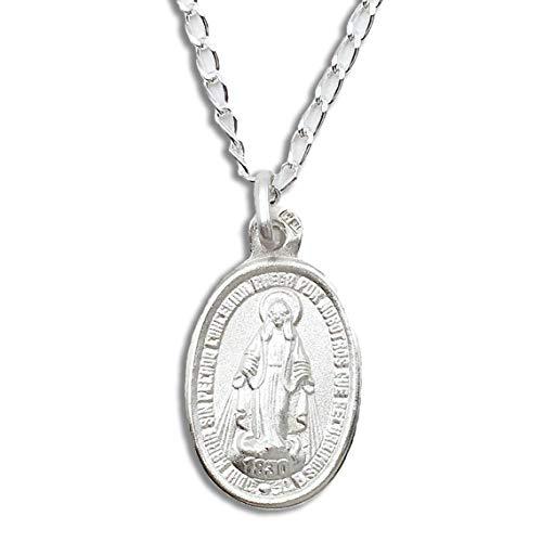 Casa de la Medalla - Medalla Religiosa Virgen Milagrosa 15x20 mm con Reverso de Cruz de Plata de Ley 925 milésimas con Cadena Bilbao 40 cm de Longitud