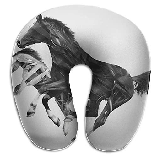 Almohada en Forma de U, Cuello Ciego, Caballo, Arte, Viaje, Almohada Multifuncional, Coche, avión