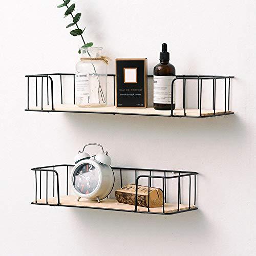 Affogato, mensole galleggianti da parete in legno rustico, moderno, mensole in ferro con filo di...