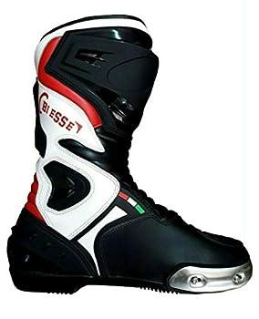 BIESSE - Bottes de moto en cuir professionnel respirant (Noir/rouge/blanc, 47)