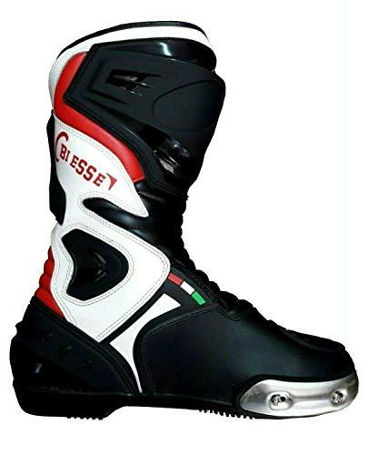 BS MOTO - Stivali Moto Pista Sport Racing, in Pelle Pista Professionale Traspirante (Nero/Rosso/Bianco, 42)