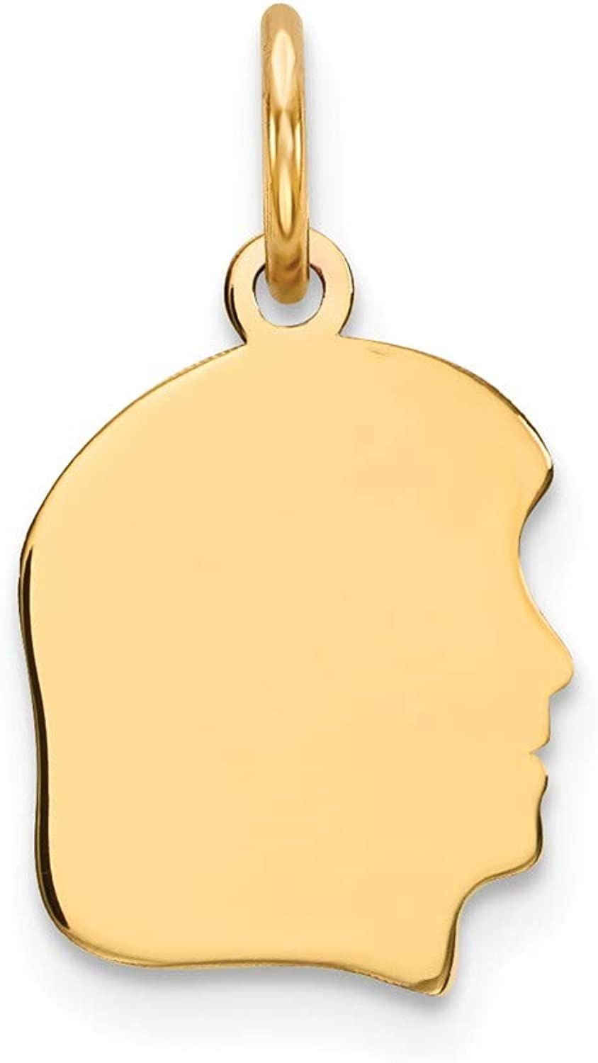 Beautiful Yellow gold 14K Yellowgold 14k Plain Small .009 Gauge Facing Right Engravable Girl Head Charm