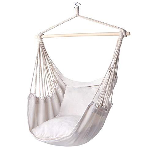 IMFFSE Balançoire extérieure pour Enfants Balançoire intérieure Longe Portable Hamac en Coton Blanc Chaise Suspendue pour la Maison