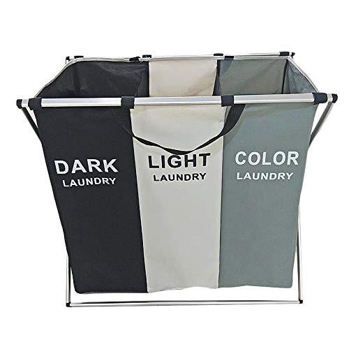 Wasmand Basket Sorter met handvat en aluminium frame, 3 secties Opvouwbaar Portable Grote vuile kleren mand Organizer voor badkamer slaapkamer woning