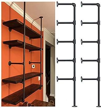 Industrial Retro Wall Mount Iron Pipe Shelf,DIY Open Bookshelf,Hung Bracket,Home Improvement Kitchen Shelves,Tool Utility Shelves Office Shelves Bookshelves and bookcases  2Pcs