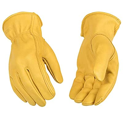 Kinco - Unlined Premium Deerskin Leather Work Gloves, Extremely Durable, Easy-On Cuff, Fitted Elastic Wrist, (Style No. 90)