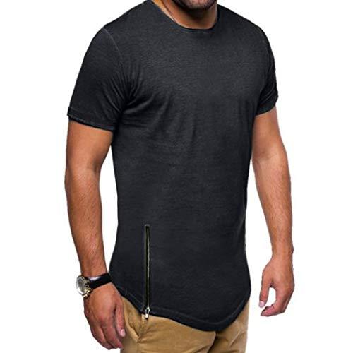 Xmiral T-Shirt Uomo T-Shirt Semplice Moda Casuale Maniche Corta T Shirt Maglietta da Uomo Camicie da Uomini Tees Manica Lunga Tops Maniche Corte Polo Maglietta Uomo L Nero