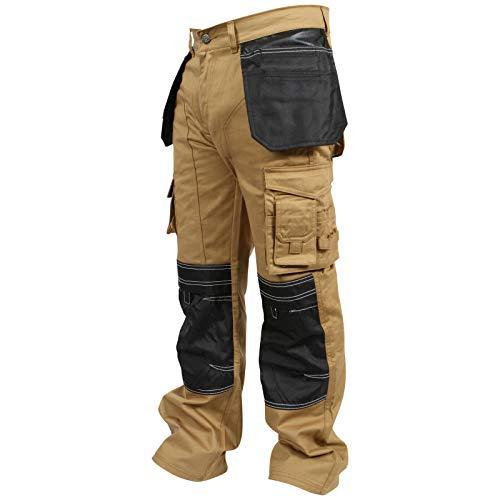 newfacelook Herren Arbeitshose Cargohose Hose Knie Taschen Sicherheits, Khaki, 36W / 32L