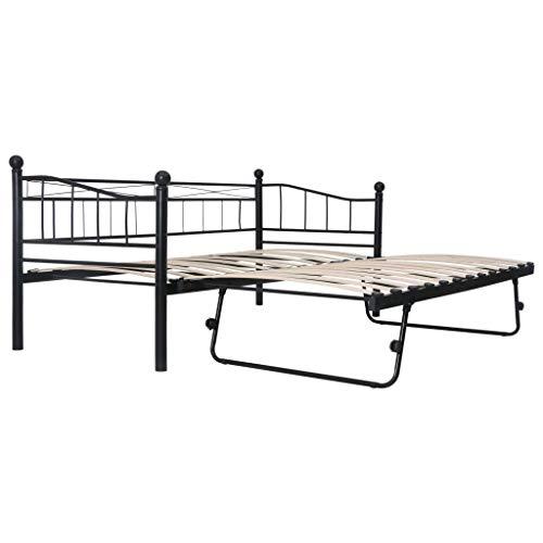 Festnight Bettgestell mit 4 Rollen Metallbett Ausziehbares Bett für Schlafzimmer oder Gästezimmer Schwarz Stahl 180×200/90×200 cm