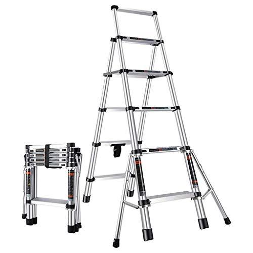 Alvnd telescopische ladder, aluminium legering vijftraps dikke vouwladder, multifunctionele lift, trapladder kan tot maximaal 300 kg ondersteunen.