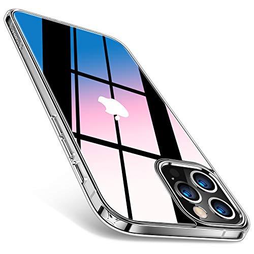 TORRAS 強化ガラス iPhone 12 用 ケース iPhone 12 Pro 用 ケース 全透明 日本旭硝子9H 10倍黄変防止 TPUバンパー 薄型 ストラップホール付き 6.1インチ アイフォン 12Pro用 12用カバー クリア