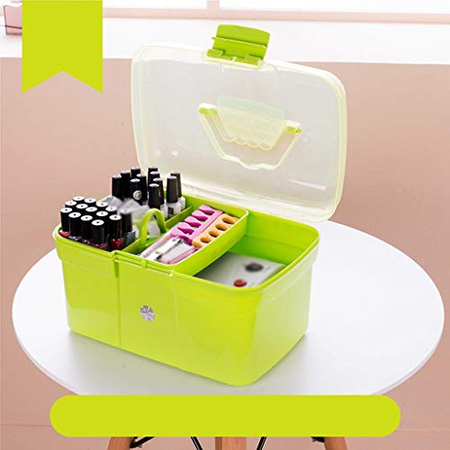 Nagellak Organizer, Draagbare Manicure Toolbox Drie Verdiepingen Multi-Purpose Opbergbox voor Manicurist Dedicated Organize The Box Groen1