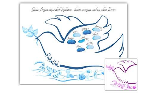 Fingerabdruck Taube personalisiert auf 29,7x42cm Poster, Taube zur Taufe als Gästebuch Alternative, Fingerabdruck Baum Taufe, Taufgeschenke für Mädchen und Jungen, Tauftaube