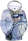 AMOMA Hombres Niños Anime Naruto 3D Impresión Digital Ocio Suéter con Capucha Kakashi Sasuke Sudadera con Capucha(S,NarutoSnow)