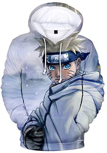 AMOMA Hombres Niños Anime Naruto 3D Impresión Digital Ocio Suéter con Capucha Kakashi Sasuke Sudadera con Capucha