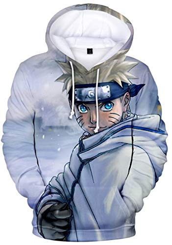 AMOMA Herren Jungen Anime Naruto 3D Digitaldruck Freizeit Pullover Kakashi Sasuke Printed Hoodie Kapuzenpullover(XXL,NarutoSnow)