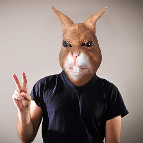 MASCARELLO Kaninchenmaske Latex Vollkopf Tiermaske Realistische braune Kaninchenhasenmaske Halloween Party Kostümmaske Kostüm Requisiten