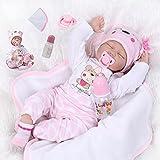 ZIYIUI 22 Pulgadas 55 Cm Muñecas Bebé Reborn Silicona Suave Dormido Niña Reborn Baby Dolls Renacer Realistic Bebe Reborn Muñecos Simulación de Juguete Niños Regalo de Cumpleaños