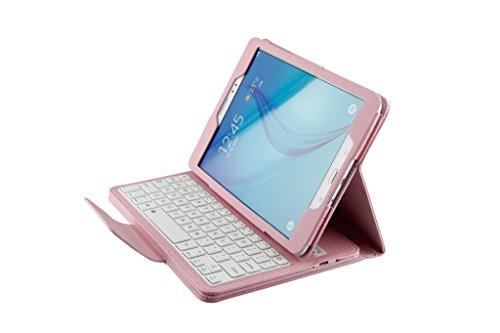 Funda PU Cuero con Teclado para Samsung Galaxy Tab A 9.7 Inch Pulgada T550 Tablet, Fenrad® Case Cover con Wireless Teclado Removable Bluetooth Keyboard (teclado QWERTY formato inglés) + Libre Stylus - Rosa