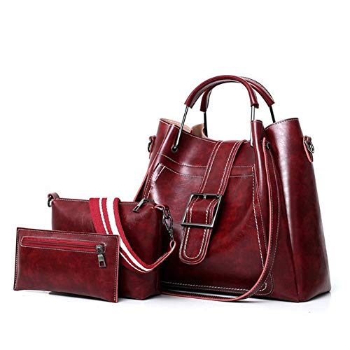 Handtas van de Dames Retro Women's schoudertas PU Leather Fashion Crossbody Bag driedelig schouderriem Verstelbare