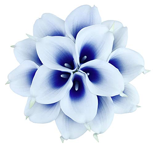 ZGPEPEXIA 15 Pcs Real Touch Calla Lily Artificial Flowers Wedding Bridal Bouquet Home Décor Party (Silk White & Abyss Blue)